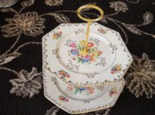 2 TIER GILDED CAKE PLATES & HANDLE LANCASTER HANLEY CROSS STITCH FLORAL DESIGN